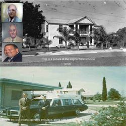 On the top is a picture of the original funeral home (1926) , along the left side is, A.M. Seigler, Sr., A.M. (Amie)Seigler & Mark Seigler On the bottom is a picture of the last privately owned funeral home ambulance and two prior employees(1974) photo