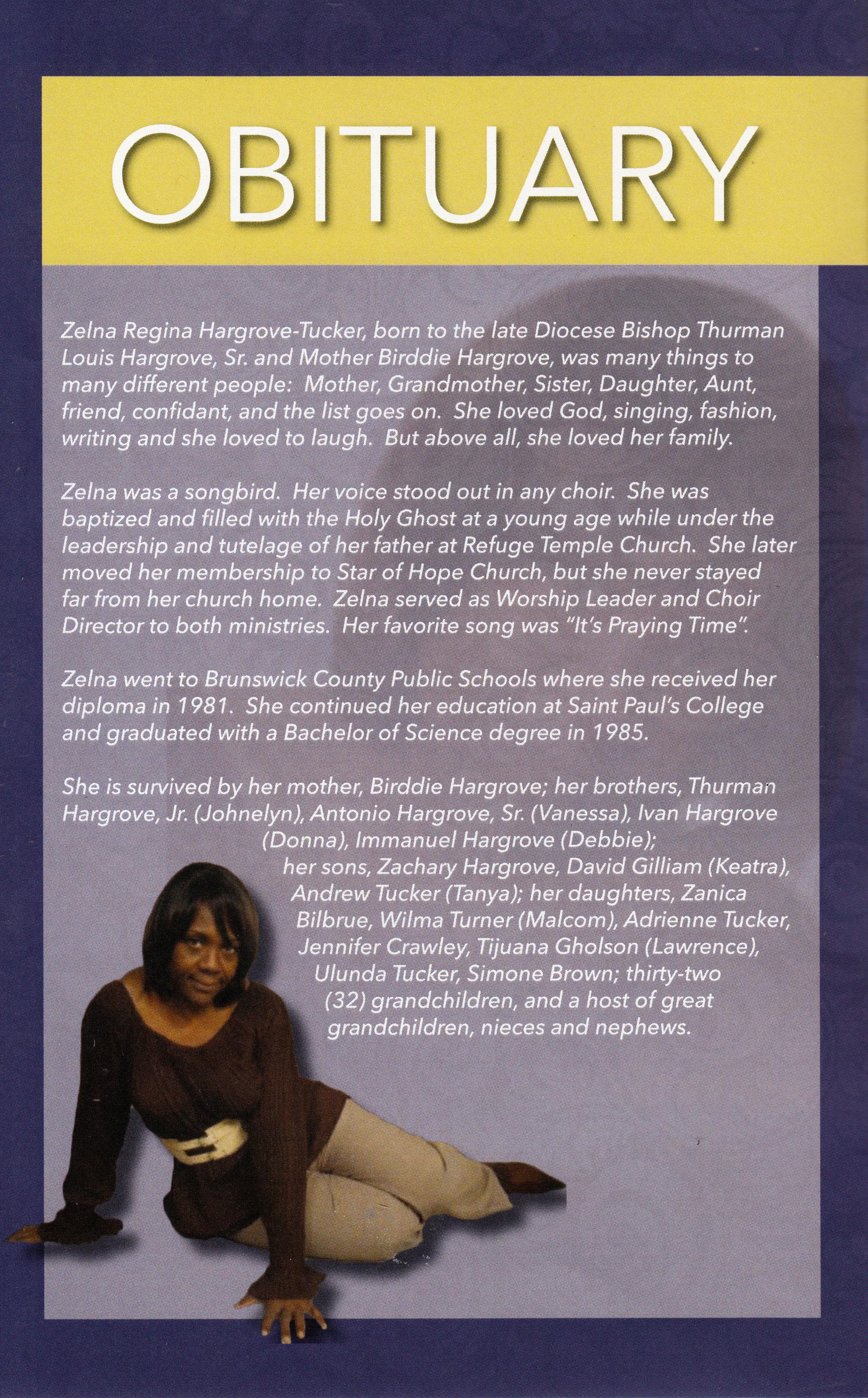 Obituary Zelna Hargrove Tucker Brown S Funeral Service Inc