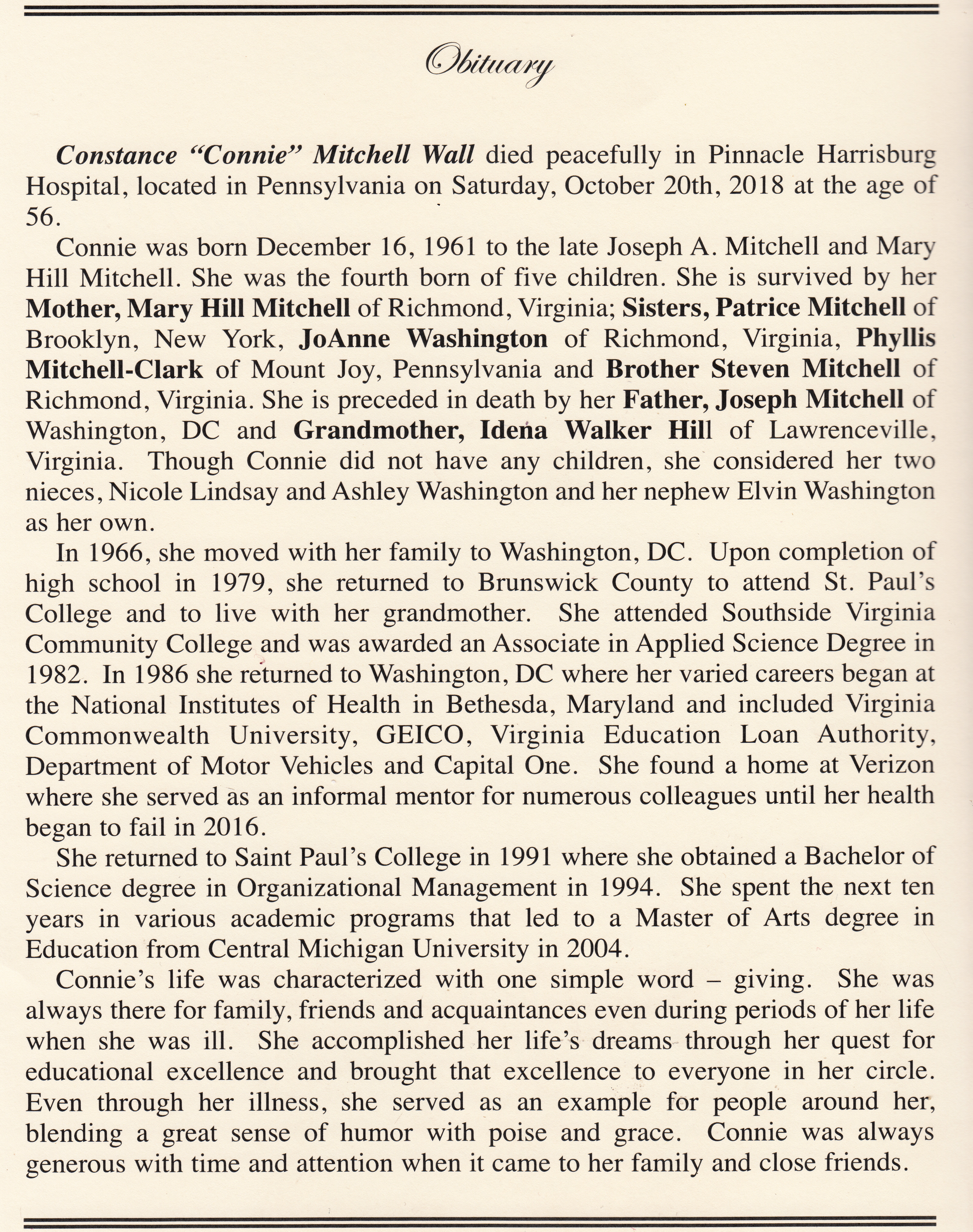 Obituary Constance Connie Mitchell Wall Brown S Funeral