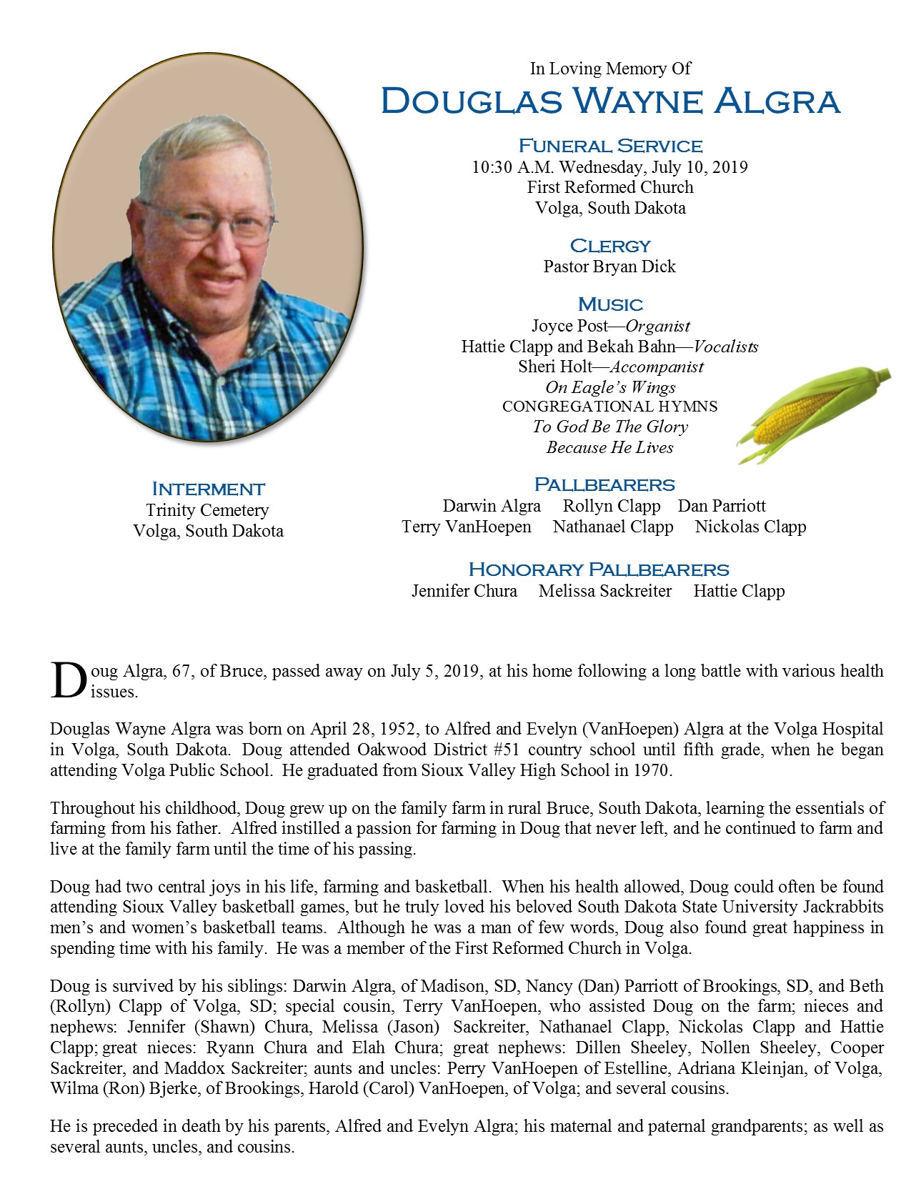 Obituary Doug Algra Eidsness Funeral And Cremation Services