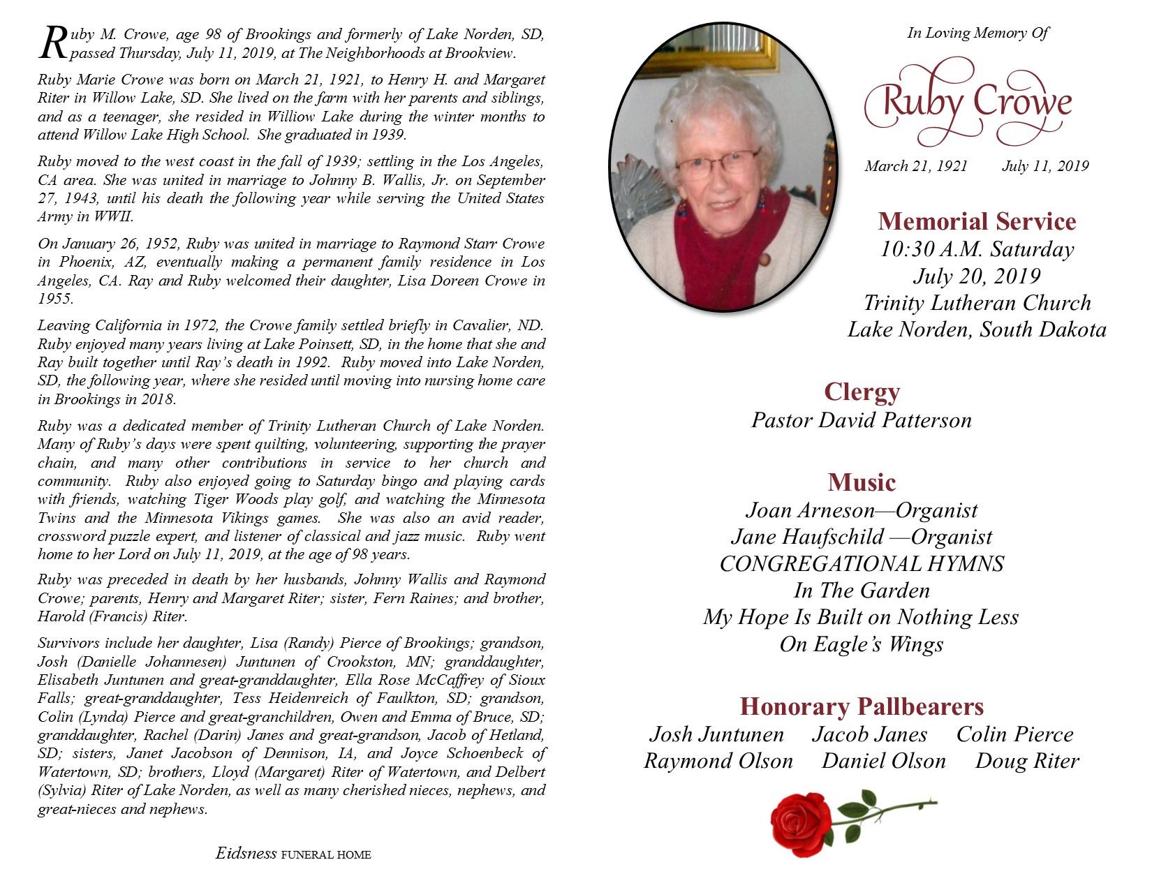 Obituary Ruby M Crowe Of Brookings South Dakota