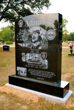 Monument for Shreveport Fireman Tommy Adams