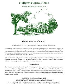 Page One of Eight of Our General Price List