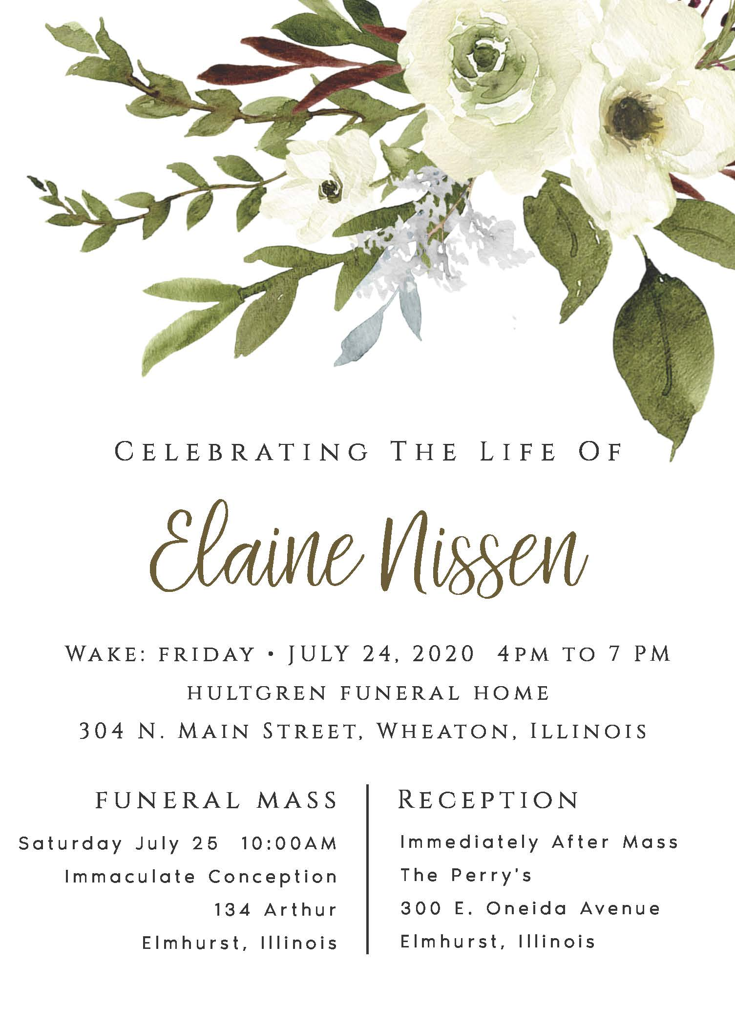 Elaine Nissen Funeral Mass Invitation