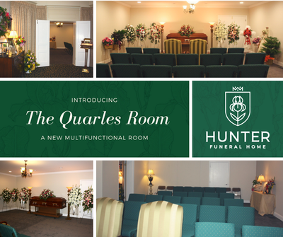 Our upstairs parlor, The Quarles Room, offers families a smaller alternative to our chapel.
