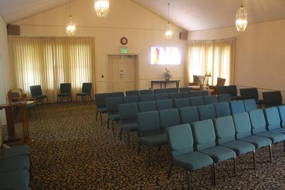 The chapel, added in 1965, provides services for funerals, visitations and memorials.The chairs allow for flexible seating and/or setup for the chapel.