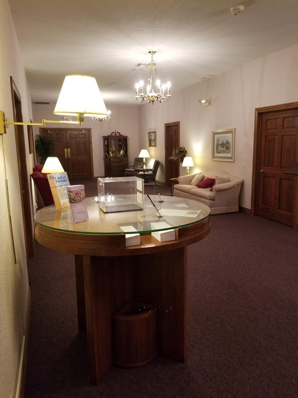 The entrance to the funeral home allows ample space for visiting with friends and family during visitations and prior to chapel funeral services.