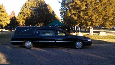 Hearse at Cemetery during winter
